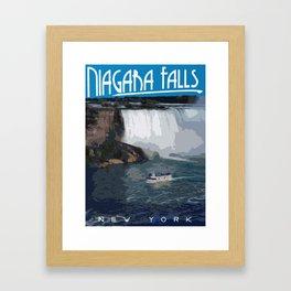 Art-Deco Style Niagara Falls Poster Framed Art Print