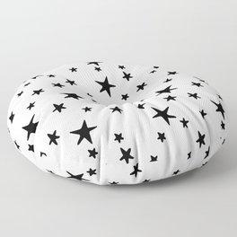Stars - Black on White Floor Pillow
