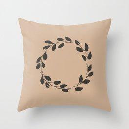 Simple Wreath on Hazelnut Throw Pillow