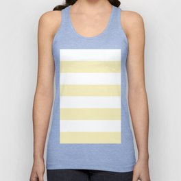 Wide Horizontal Stripes - White and Blond Yellow Unisex Tank Top