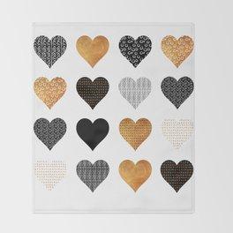 Gold, black, white hearts Throw Blanket