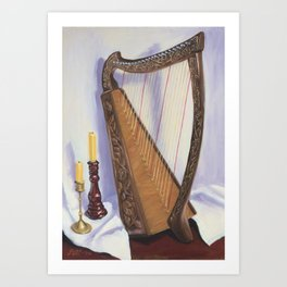 Harp and Candles Art Print