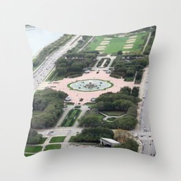 Buckingham Fountain Chicago Illinois Color Photo Throw Pillow