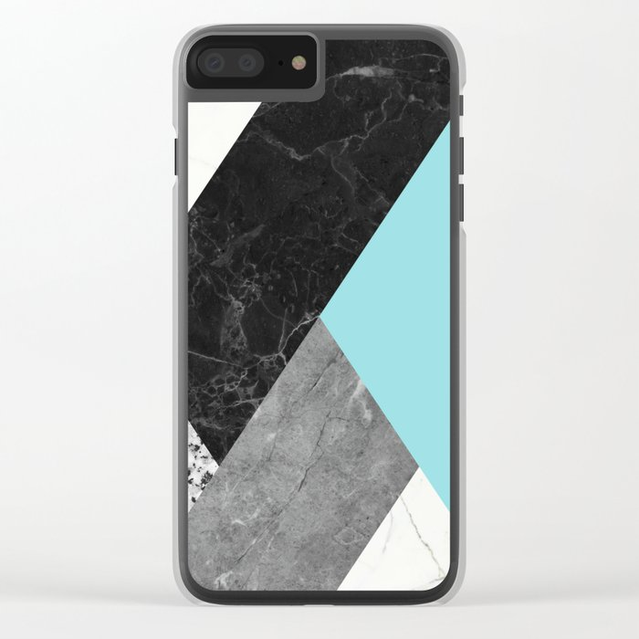 Black and white marbles and pantone island paradise color Clear iPhone Case