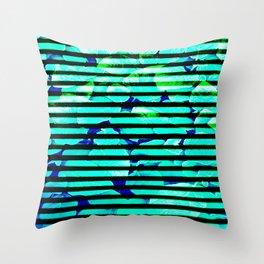 leaf print stripe Throw Pillow