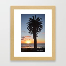 Southern California Sunset Palm Tree Framed Art Print