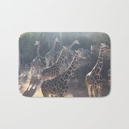 Giraffe National Park // Spotted Long Neck Graceful Creatures in Wildlife Preserve Bath Mat