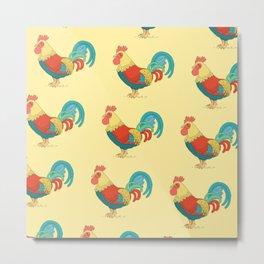 Cute Colorful Rooster Pattern Metal Print