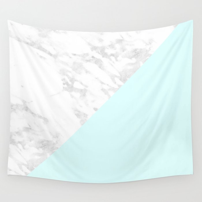 white marble with pastel blue and grey wall tapestry by naturemagick society6. Black Bedroom Furniture Sets. Home Design Ideas