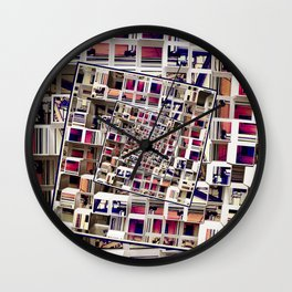 White House With Spinning 3D Cubes Wall Clock