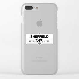 Sheffield England GPS Coordinates Map Artwork with Compass Clear iPhone Case