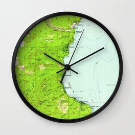 Vintage Map of Tahoe California (1955) Wall Clock