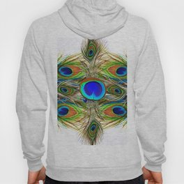 AWESOME BLUE-GREEN PEACOCK FEATHERS ART Hoody