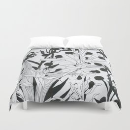 Vintage floral in black and white Duvet Cover