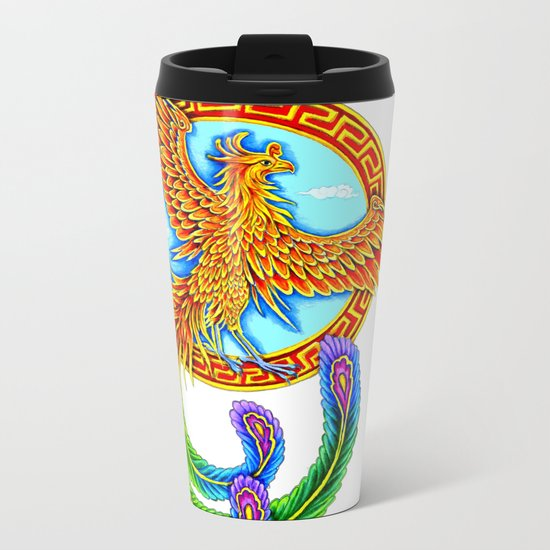 Chinese Vermilion Bird Metal Travel Mug