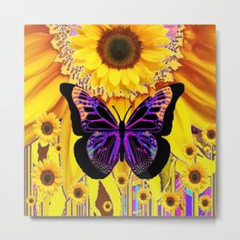 YELLOW SUNFLOWERS BLACK FANTASY BUTTERFLY ABSTRACT Metal Print