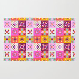 Maroccan tiles pattern with pink Rug