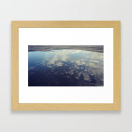 Sky Reflection in Puddle on Seattle Pier  Framed Art Print