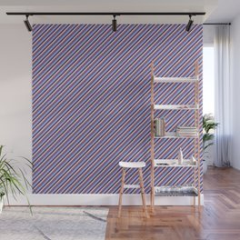 Light Lilac Blue Inclined Stripes Wall Mural