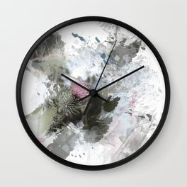 Painted thistle on textured background Wall Clock