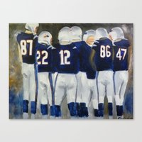 patriots Canvas Prints featuring Patriots Huddle  by Pink Petals Paintings