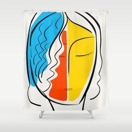 Graphic Minimal Portrait Design Orange Yellow and Blue Shower Curtain