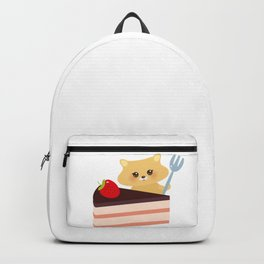 cute kawaii hamster with fork, Sweet cake decorated with fresh Strawberry, pink cream and chocolate Backpack