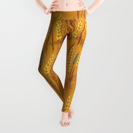 Pattern of Wheat Field Gold and Grey Leggings