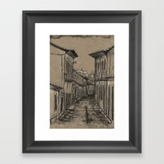 Old Village Alley Framed Art Print