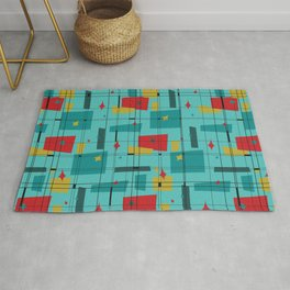 Retro Shapes In Red Rug