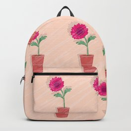 dahlia in the pot on the grunge Backpack