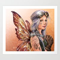engineer Art Prints featuring Engineer Fairy by Mortimer Sparrow