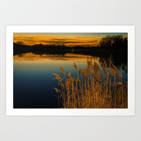 Sunset at Reedy Point Pond Rustic Landscape / Nature Photograph by pipafineart