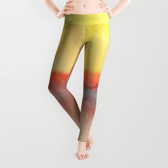 Watercolor abstract landscape 01 Leggings