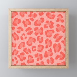 Leopard - Living Coral Framed Mini Art Print
