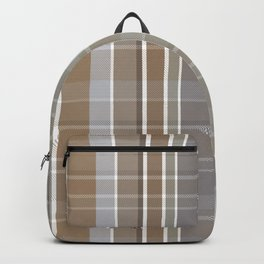 Winter, Plaid, Brown and Grey Backpack