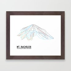 Mt. Bachelor, OR - Minimalist Trail Art Framed Art Print