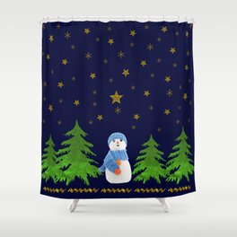 Sparkly gold stars, snowman and green tree Shower Curtain