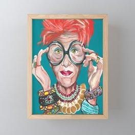 Iris Apfel Fashion Icon Drawings Feminist Icon Portrait Framed Mini Art Print