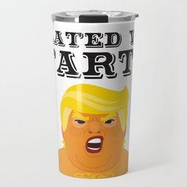 Trump Baby Balloon Blimp filled with farts - black text Travel Mug