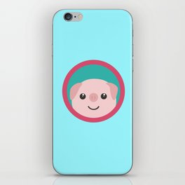 Cute pink pig with purple circle iPhone Skin