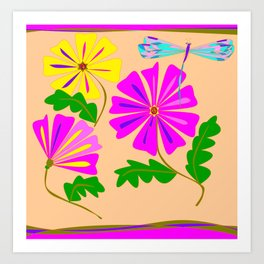 Three Summer Flowers with a Damselfly Art Print
