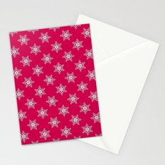 Snowflakes on a red background Stationery Cards