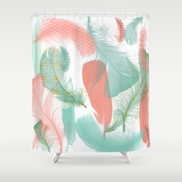 Peach and Turquoise Feathers Shower Curtain