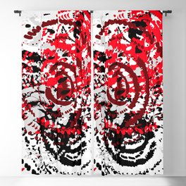 red black white silver grey abstract digital art Blackout Curtain