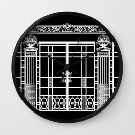 ART DECO, ART NOUVEAU IRONWORK: White on Black Wall Clock