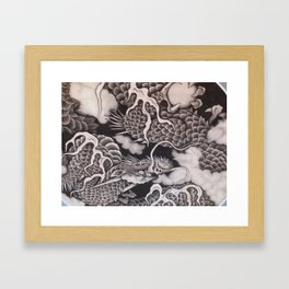 Cool traditional Japanese Dragon Texture Framed Art Print