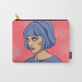 Woman with Coral Carry-All Pouch