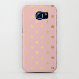 Gold polka dots on rose gold background - Luxury pink pattern iPhone Case