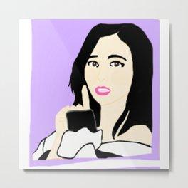 Knock Knock! Mina Purple Metal Print
